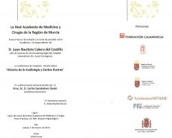Sesión de ingreso en la Academia de Medicina, como Académico Correspondiente, de D. Juan Bautista Calero (05.03.2015)