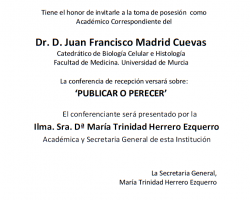 Toma de Posesión como Académico Correspondiente del Dr. D. Juan Francisco Madrid Cuevas