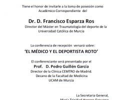 Toma de Posesión como Académico Correspondiente de Dr. D. Francisco Esparza Ros