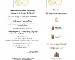 Sesión de ingreso en la Academia de Medicina, como Académico Correspondiente, de D. Francisco Piqueras Pérez (15.10.2015)