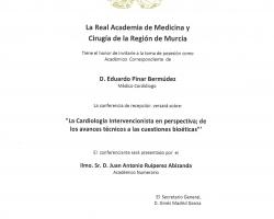 La Real Academia de Medicina le invita a la sesión de ingreso como Académico Correspondiente del Dr. Eduardo Pinar Bermúdez, cuyo discurso versará sobre