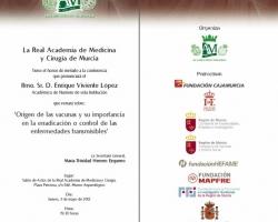Conferencia 'Origen de las vacunas y su importancia en la erradicación o control de las enfermedades transmisibles'