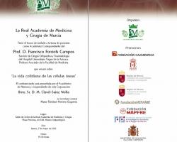 Toma de posesión como Académico Correspondiente del Prof. D. Francisco Forriols Campos