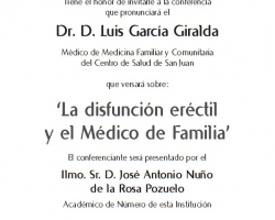 Ciclo de Conferencias - Cultura y Medicina - La Disfunción Eréctil y el Médico de Familia