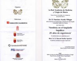 Conferencia - 'Anestesia en el trasplante hepático: 20 años de experiencia'